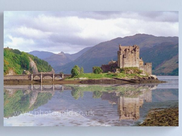 Eilean Donan Castle in the Highlands of Scotland , Eilean Donan Castle is one of the finest Scottish castles for photography , Eilean Donan is the most photographed castle in Scotland. Eilean Donan Castle in Scotland is one of the locations which inspired the Outlander TV series canvas